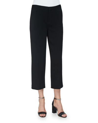 Clara Straight-Leg Cropped Trousers, Black