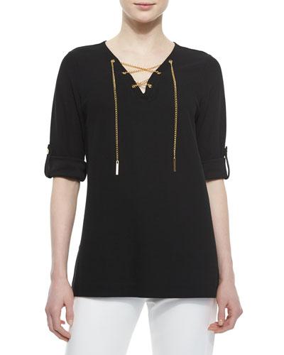 Cotton Pique Lace-Up Tunic, Black