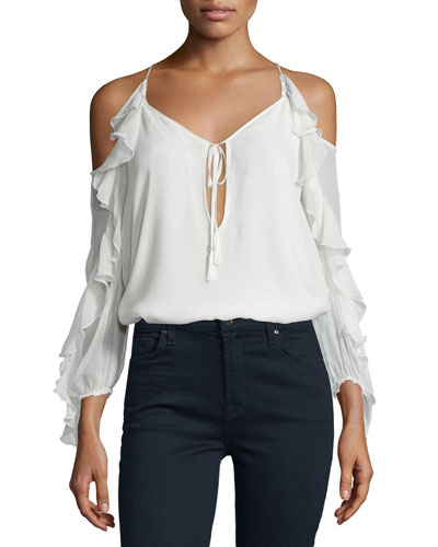 The Flowers in the Sun Silk Cold-Shoulder Blouse, Ivory