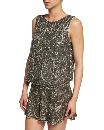 Marisa Beaded Silk Tank, Gunmetal