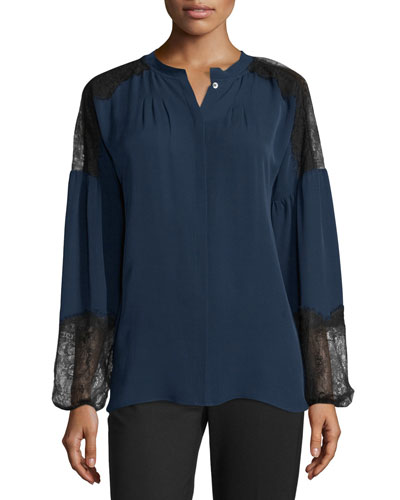 Long-Sleeve Silk Peasant Blouse w/ Lace Panels