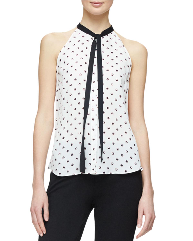 Kenzie Sleeveless Tie-Neck Blouse, White/Multi