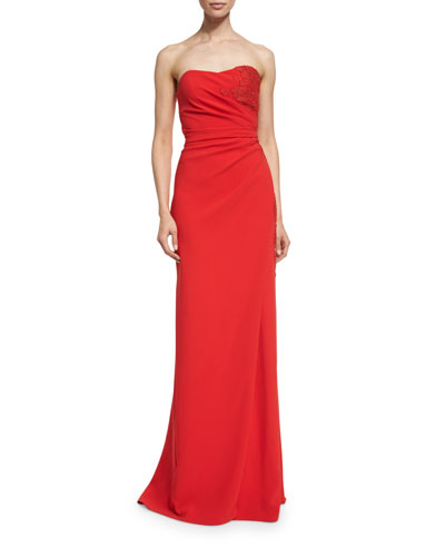 Strapless Sweetheart Gown W/ Lace Detail, Cherry