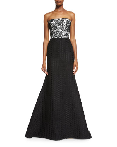 Strapless Lace Combo Mermaid Dress, Black/White