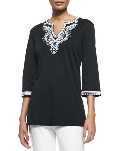 3/4-Sleeve Embroidered Tunic