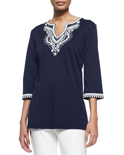 3/4-Sleeve Embroidered Tunic, Petite