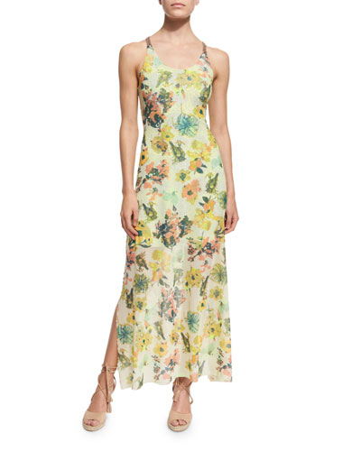 Floral-Printed Strappy-Back Long Dress