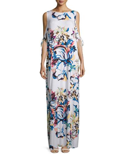 Sleeveless Floral-Print Cold-Shoulder Maxi Dress, Botanical