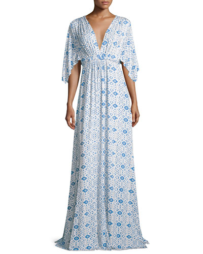 Kimono-Sleeve Printed Caftan Maxi Dress, Delta Medallion