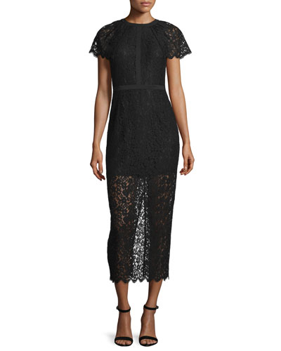Short-Sleeve Lace Overlay Midi Dress, Black