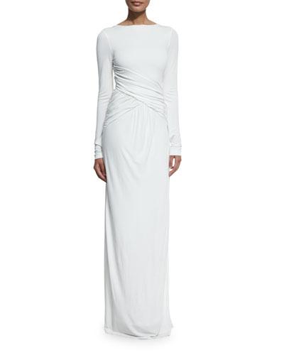 Ruched Long-Sleeve Column Gown, Ecru