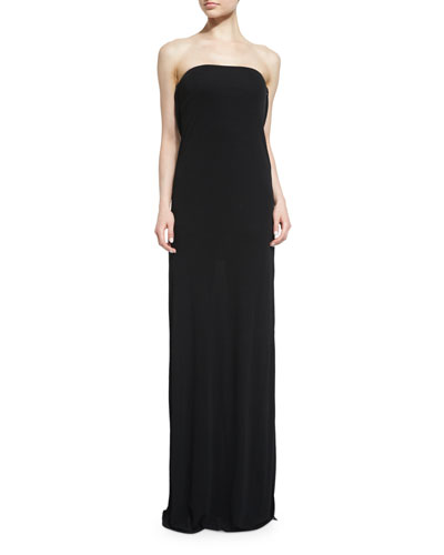 Lace-Back Strapless Gown, Black
