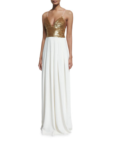 Sequined Sleeveless V-Neck Gown, Gold/Ecru