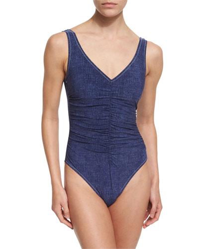 Denim II V-Neck Underwire One-Piece Swimsuit