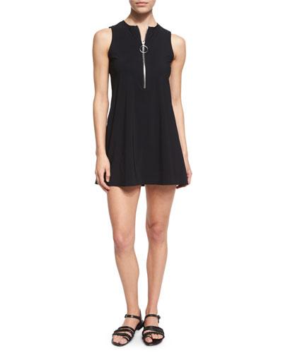 Ring Zip Round-Neck Dress, Black