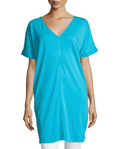 Long Cotton Interlock Tunic, Turquoise
