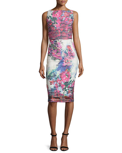 Sleeveless Floral Neoprene Striped Sheath Dress