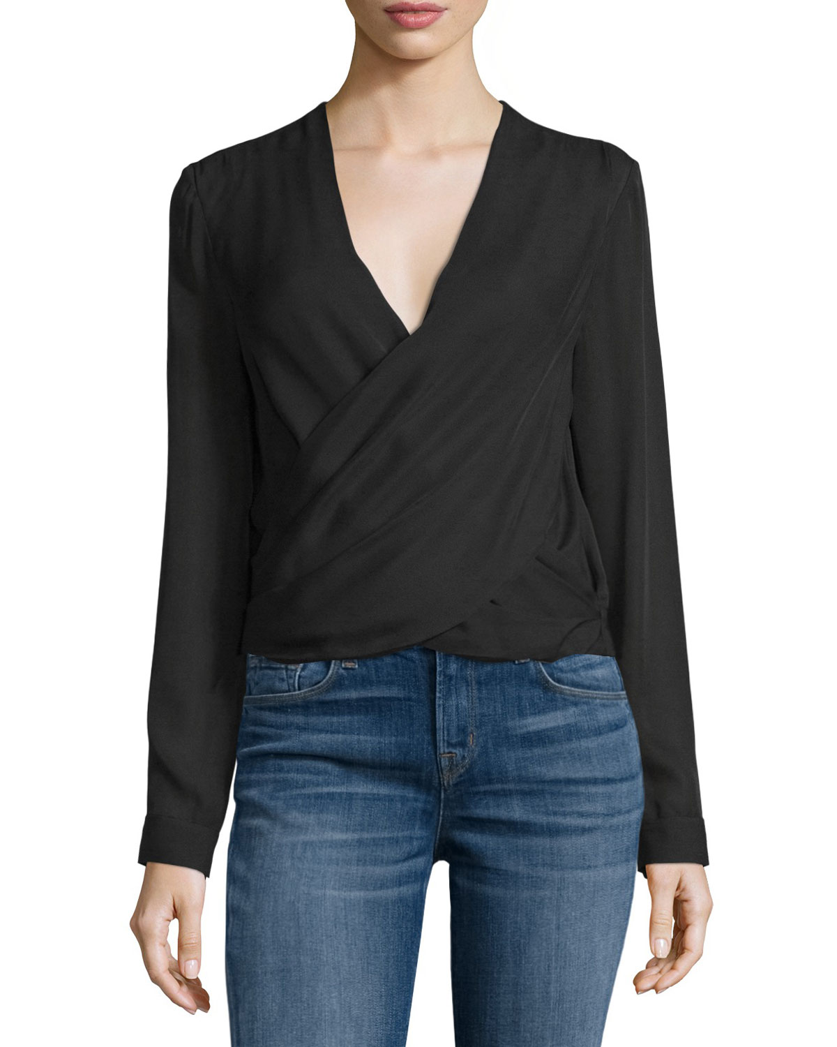 Gia Long-Sleeve Silk Wrap Blouse, Black