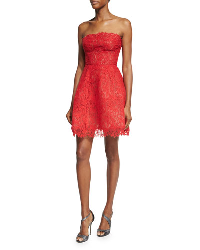 Strapless Lace Party Dress, Red