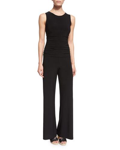 Sleeveless Shirred-Waist Jumpsuit
