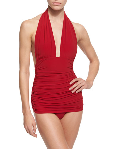 Bill Ruched Halter One-Piece Swimsuit, Red