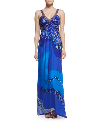 Printed Sleeveless V-Neck Gown, Blue/Multi