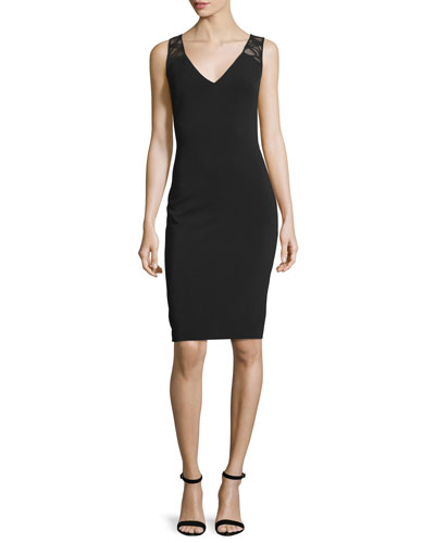 Sleeveless Cocktail Dress W/Lattice Insets, Black