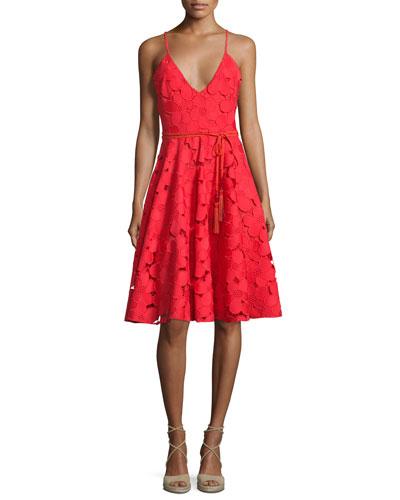 Floral Lace Fit & Flare Dress w/Tassel Belt