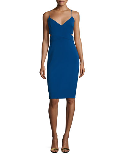 Sleeveless V-Neck Cutout Sheath Dress