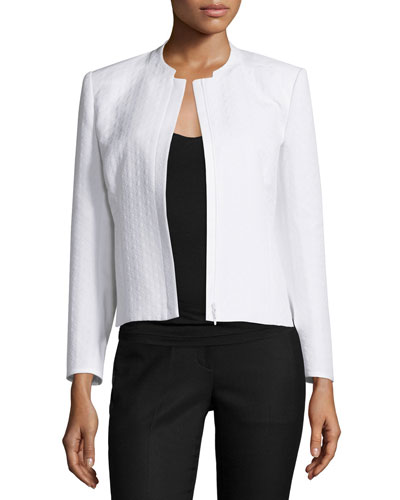 Marcy Zip-Front Short Jacket, White