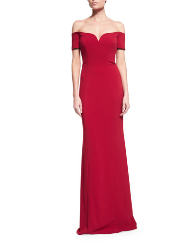 Off-the-Shoulder Sweetheart Column Gown