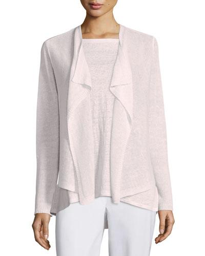 Draped-Front Organic Linen Cardigan, Opal, Plus Size