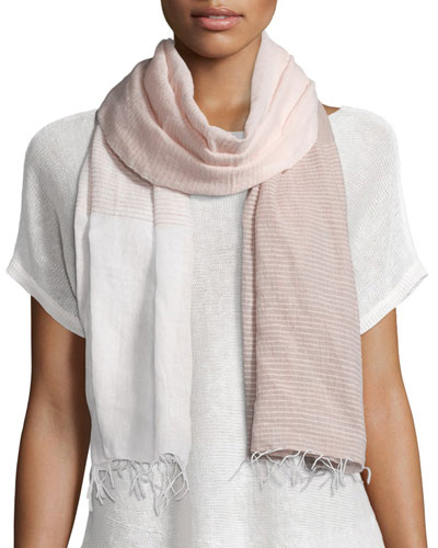 Hand-Loomed Mix-Striped Scarf W/Fringe, Opal