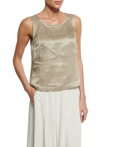 Sleeveless Ballet-Neck Linen/Silk Satin Shell