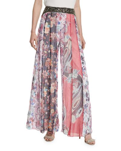 Marisa Multipattern Silk Pants, Multicolor