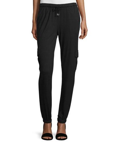 Straight-Leg Jersey Cargo Pants, Charcoal Heather