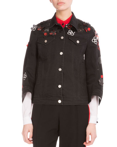 Tanami Flower Embroidered Denim Jacket, Black