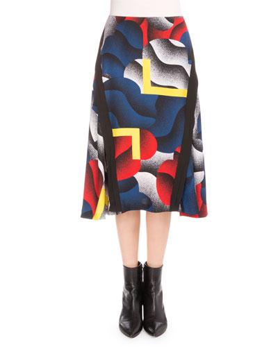 Clouds & Corners A-Line Skirt, Black/Multicolor