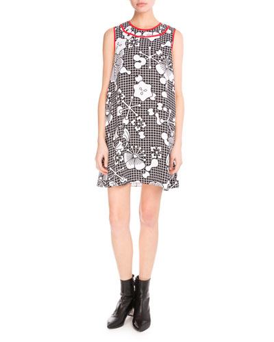 Tanami Flower Sleeveless Shift Dress, Black