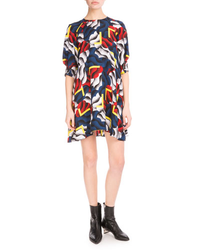 Small Clouds & Corners Chiffon Dress, Black/Multicolor