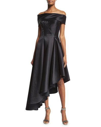 Off-The-Shoulder Asymmetric-Hem Dress, Black