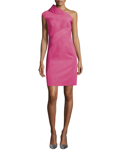 One-Shoulder Bias-Cut Dress, Hot Pink