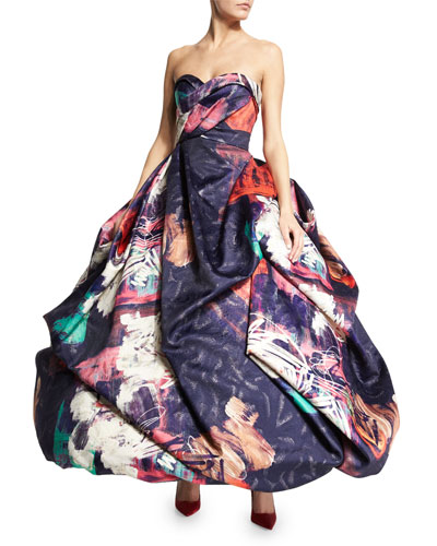 Strapless Graffiti-Print Ball Gown, Black/Multi