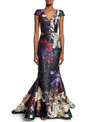 Cap-Sleeve Graffiti-Print Trumpet Gown, Black/Multi
