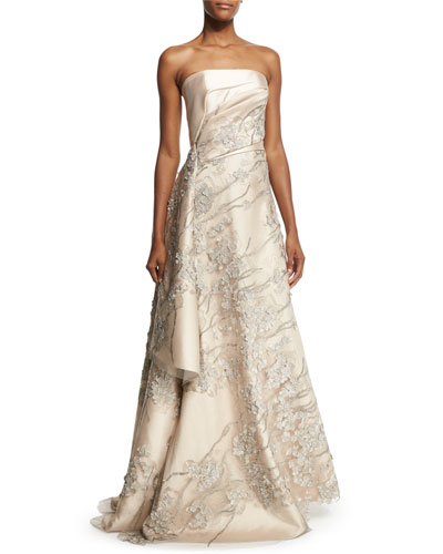 Strapless Embroidered Applique Gown, Champagne