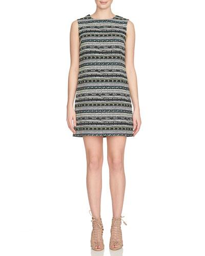 Sleeveless Geometric Jacquard Shift Dress