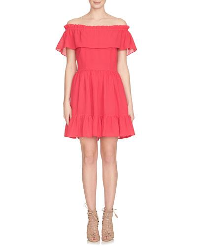 Off-the-Shoulder Ruffle Mini Dress