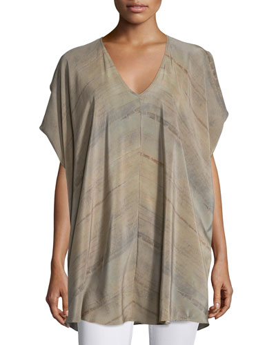 Short-Sleeve Grove-Print Silk Tunic, Mocha