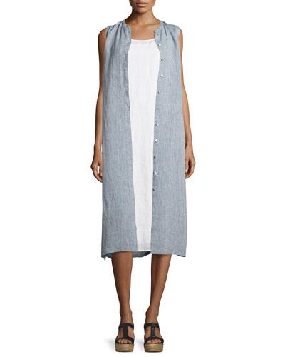 Sleeveless Button-Front Shirtdress, Chambray