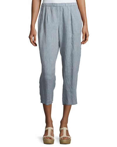 Mid-Rise Cropped Linen Pants, Chambray